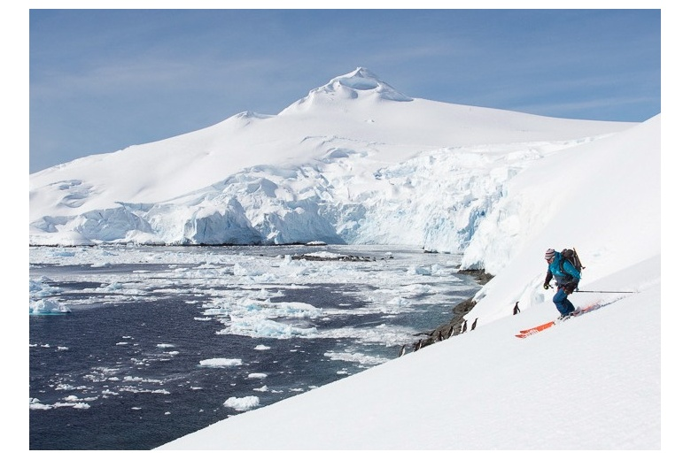 skiing on a sunny day on antarctica