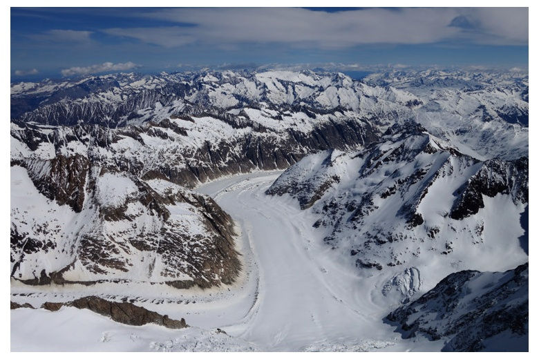 glacier view from Finsteraarhorn summit