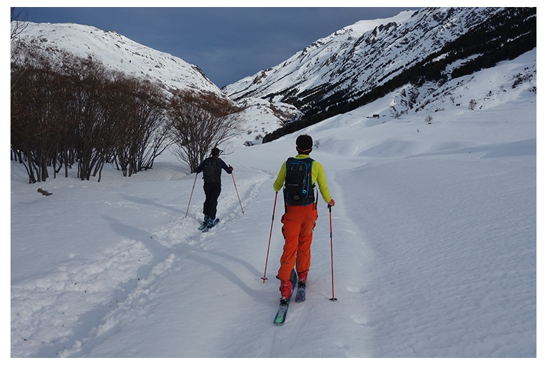 touring skiers just starting their ski day from Bagergue heading to the end of the valle de unhola.