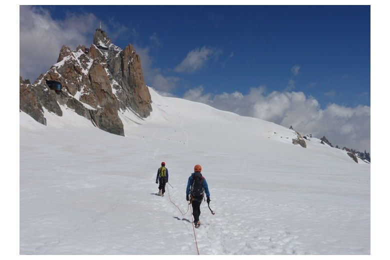 alpinists going through the plateau de midi