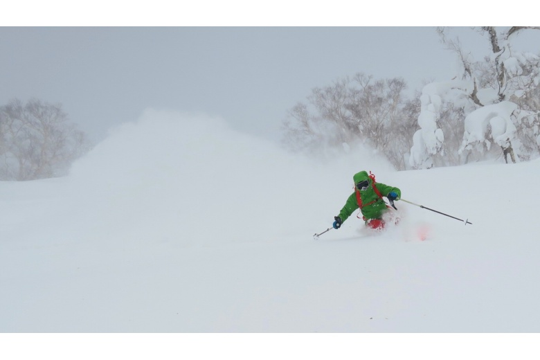 skiing down on huge amount of powder snow