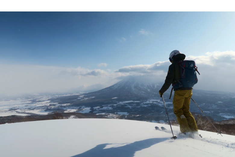 Top of mountain with spectacular view of Yotei volcano, Hokkaido