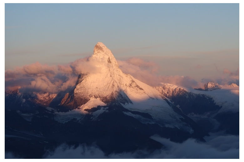 sunlight on the matterhorn as the day is dawning