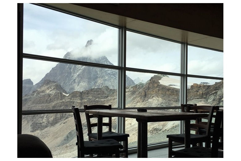 view of the Matterhorn from the dining room of teodulo hut