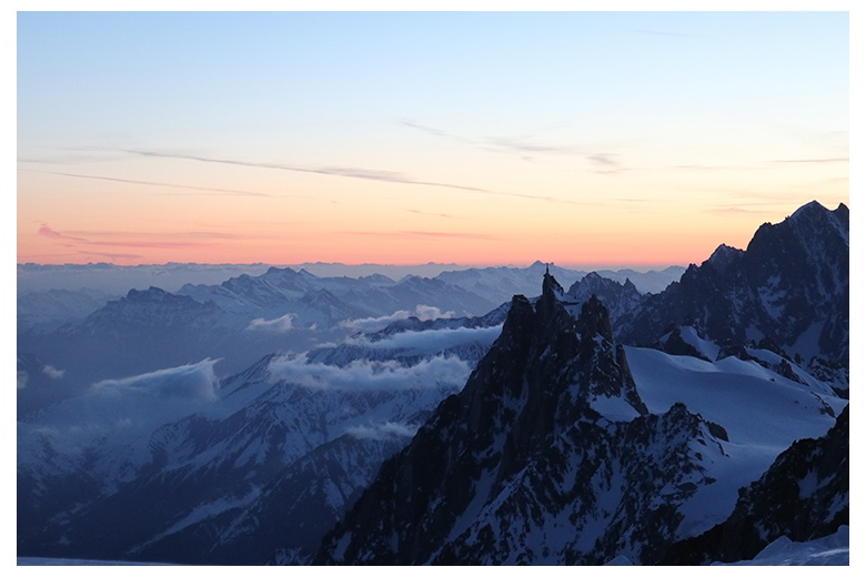 aiguille du midi view in beautiful sunrise