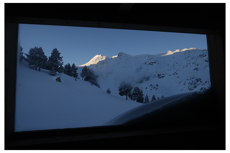 view from the beds of the upper floor of saboredo hut