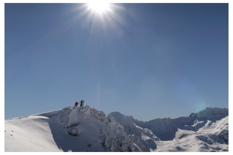 Summit on a perfect sunny day plus huge quantity of fresh snow