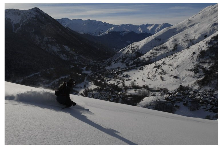 amazing view of aran valley plus skier freeriding