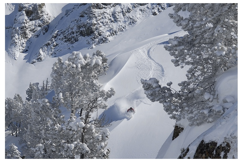 skier taking profit of the superb descent on powder snow on tuc deth saumet