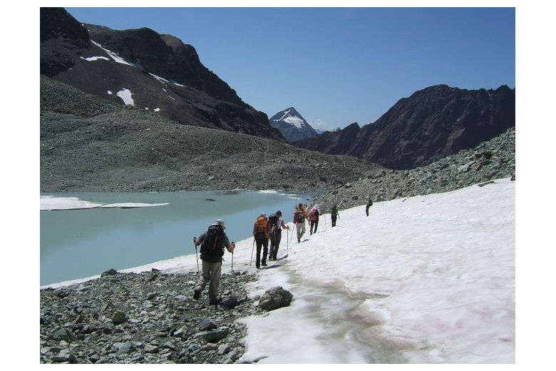 hikers following the route close to a lake