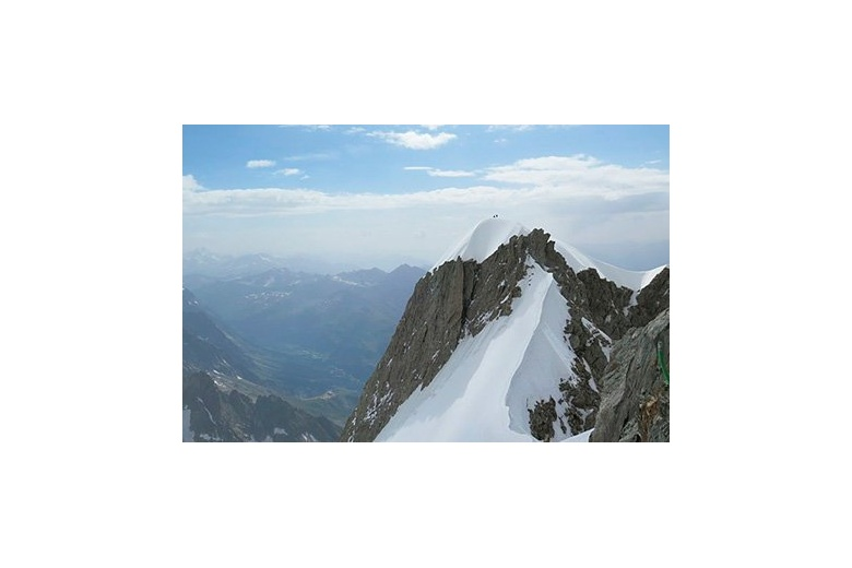 mountain peak on the french alps with amazing view of the horizon