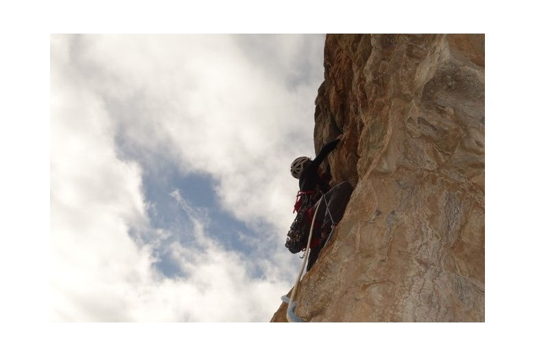 climber in one of the multiple routes in Ordesa pyrenees
