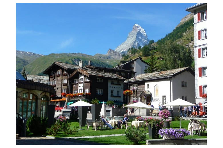 idyllic village with matterhorn in the horizon