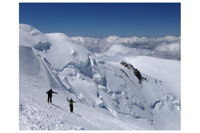 tour skiers ascending on their way to the Mont Blanc summit