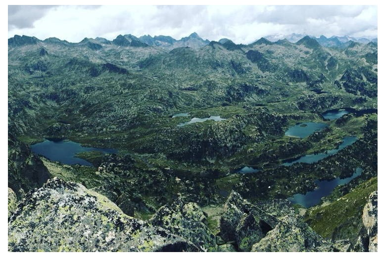 panoramic view of the colomers lakes from the ratera