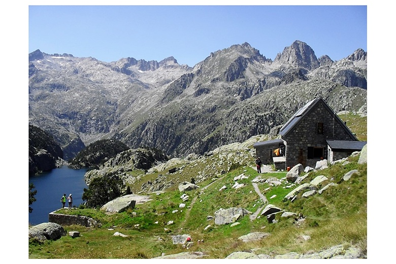 ventosa i calvell hut with serra de tumeneia at the background and estany negre just on the left edge of the image