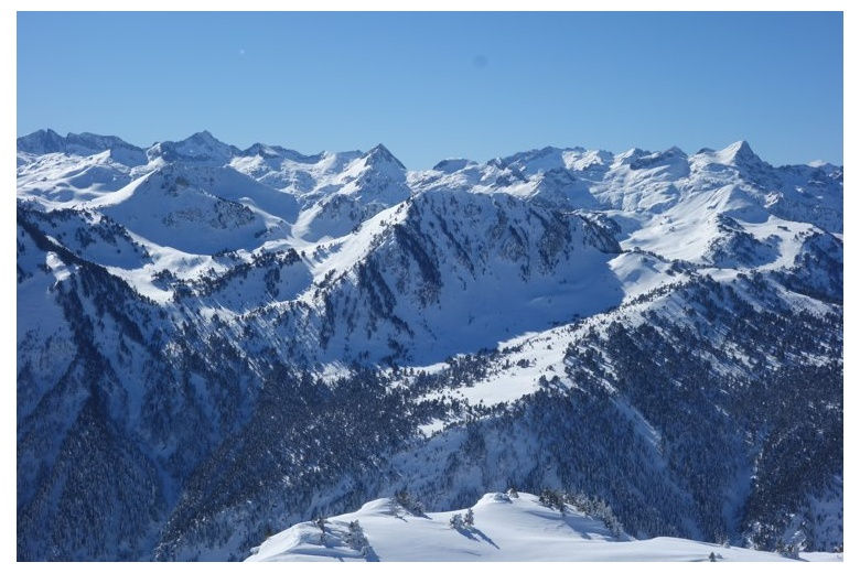 View facing the Aiguastortes National Park from Baqueira. Mall Blanc of Tredos in front
